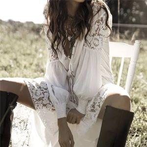 Bindie Boho Cotton Lace Hi Lo Maxi Dress Cover Up